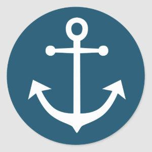 Nautical Ship Anchor Navy Blue And White Classic Round Sticker