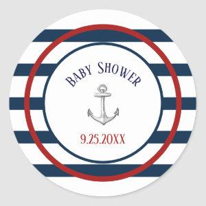 Nautical Stripes and Anchor Baby Shower Classic Round Sticker