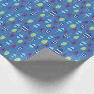 Nautical Theme Buoy and lobster monogrammed Wrapping Paper