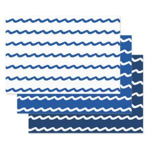 Nautical waves blue white 3 gift wrapping paper