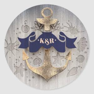 Navy and Gold Nautical Anchor Wedding Classic Round Sticker