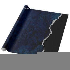 Navy and Silver Agate Wrapping Paper