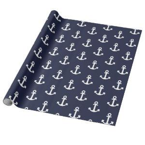 Navy and White Anchor Wrapping Paper