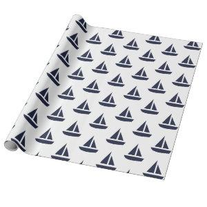 Navy and White Sailboat Wrapping Paper
