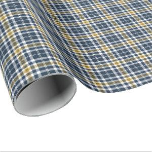 Navy and Yellow Gold Sporty Plaid Pattern Wrapping Paper