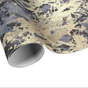 Navy Black Floral Faux Gold Grungy Marble Strokes Wrapping Paper