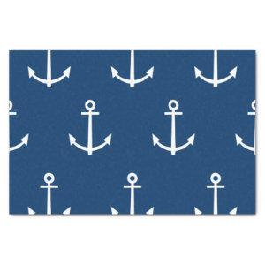 Navy Blue Anchors Pattern 1 Tissue Paper