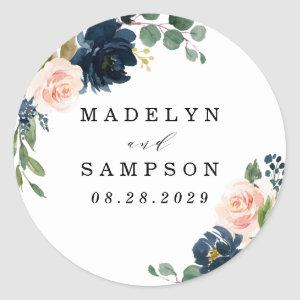 Navy Blue and Blush Pink Floral Country Wedding Classic Round Sticker