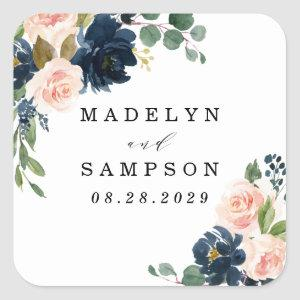 Navy Blue and Blush Pink Floral Country Wedding Square Sticker