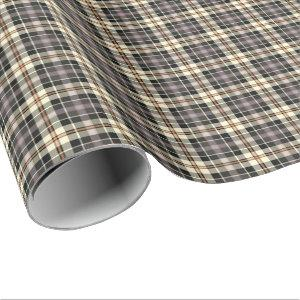 Navy Blue and Cream Rustic Plaid Pattern Wrapping Paper