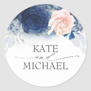 Navy Blue and Dusty Pink Floral Wedding Classic Round Sticker