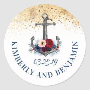 Navy Blue and Marsala Anchor Nautical Wedding Classic Round Sticker
