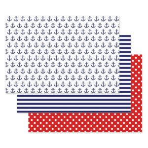 Navy Blue and Red Nautical Patterns Wrapping Paper Sheets