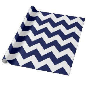 Navy Blue and White Extra Large Chevron Wrapping Paper