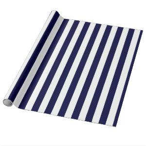 Navy Blue and White Extra Large Stripe Pattern Wrapping Paper