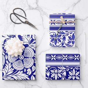 Navy Blue and White Indian Floral Pattern Wrapping Paper Sheets