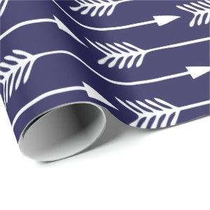 Navy Blue Arrows Pattern Wrapping Paper