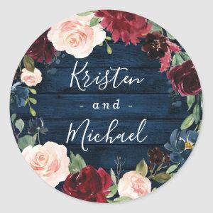 Navy Blue Burgundy Blush Watercolor Wreath Wedding Classic Round Sticker