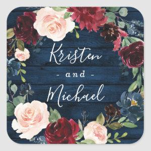 Navy Blue Burgundy Blush Watercolor Wreath Wedding Square Sticker