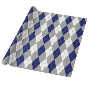 Navy Blue Charcoal Dk Gray Wht XL Argyle Wrapping Paper