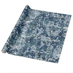 Navy Blue Digital Camouflage Decor Wrapping Paper