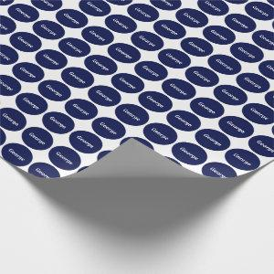 Navy Blue Dots Pattern On White With Name Wrapping Paper