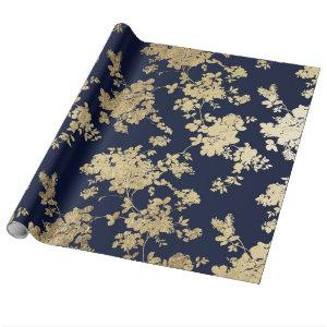Navy blue faux gold shabby vintage chic floral wrapping paper