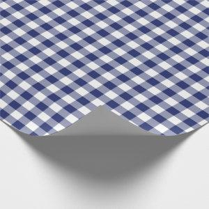 Navy Blue Gingham Checks Pattern Wrapping Paper