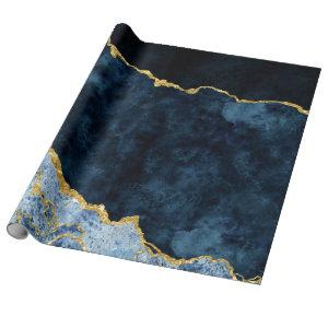 Navy Blue & Gold Foil Agate Marble Wrapping Paper