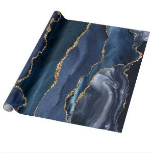 Navy Blue Gold Glitter Foil Marble Geode Agate Wrapping Paper