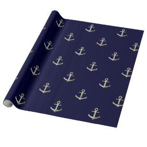 Navy blue nautical anchor wrapping paper