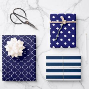 Navy Blue Patterned Wrapping Paper Sheets