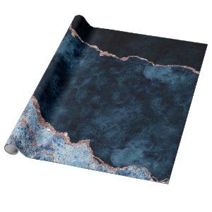 Navy Blue & Rose Gold Foil Agate Marble Wrapping Paper