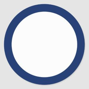Navy blue solid color border blank classic round sticker