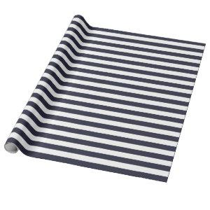 Navy Blue Stripes Wrapping Paper