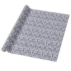Navy Blue & White Damask Gift Wrap