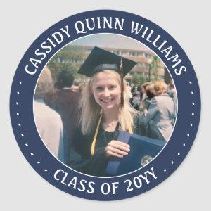 Navy Blue White Graduate Photo 2020 Graduation Classic Round Sticker
