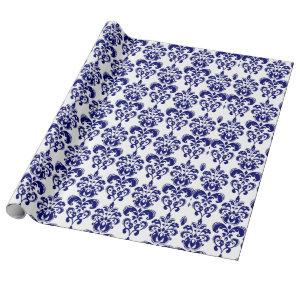Navy Blue, White Vintage Damask Pattern 2 Wrapping Paper