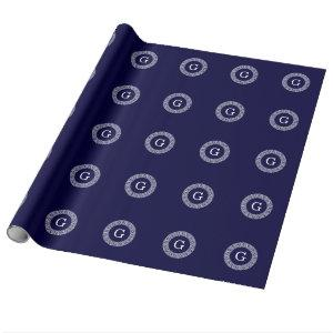 Navy Blue Wht Greek Key Rnd Frame Initial Monogram Wrapping Paper