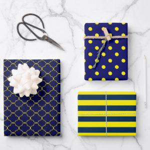 Navy Blue Yellow Patterned Wrapping Paper Sheets