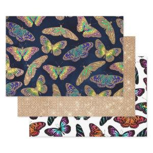 Navy Gold Butterflies Glitter Watercolor Pattern Wrapping Paper Sheets