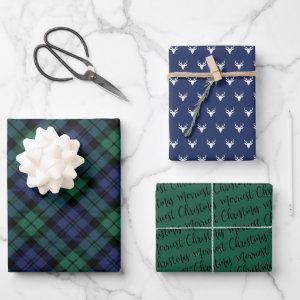 Navy Green Black Watch Plaid Merry Christmas Wrapping Paper Sheets