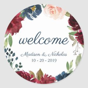 Navy Marsala Floral Wedding Welcome Stickers
