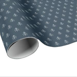 Navy | Modern Trees Pattern Wrapping Paper
