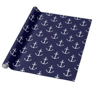 Navy & White Nautical Anchor Wrapping Paper