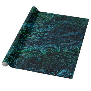 Neon Camouflage Dark Camo Texture Pattern Wrapping Paper