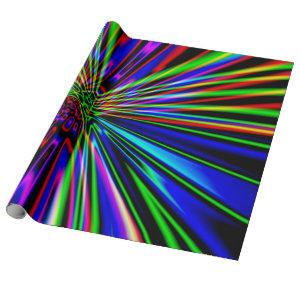 Neon Explosion Colorful Fractal Art Wrapping Paper
