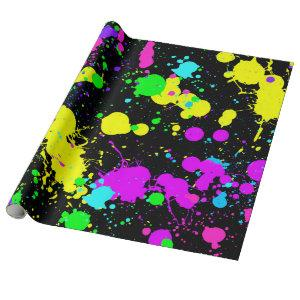 Neon, Faux Glow in the Dark, Paint Splatter Wrapping Paper