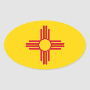 New Mexico State Flag Design Oval Sticker
