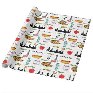 New York Icons Pattern by Orchard Three Wrapping Paper